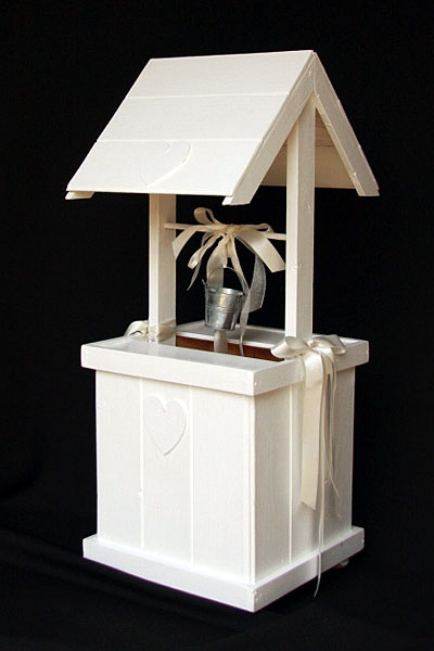 White Wooden Wishing Well Post Box Large Wedding Hire