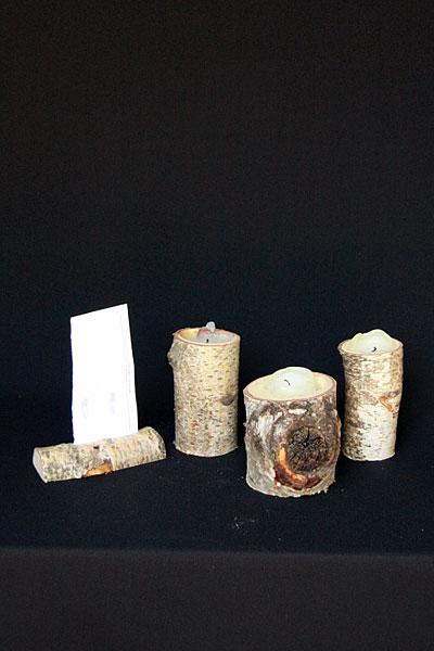 Wooden log candle holders tea light holders fleur de vee for Log candle holder how to make
